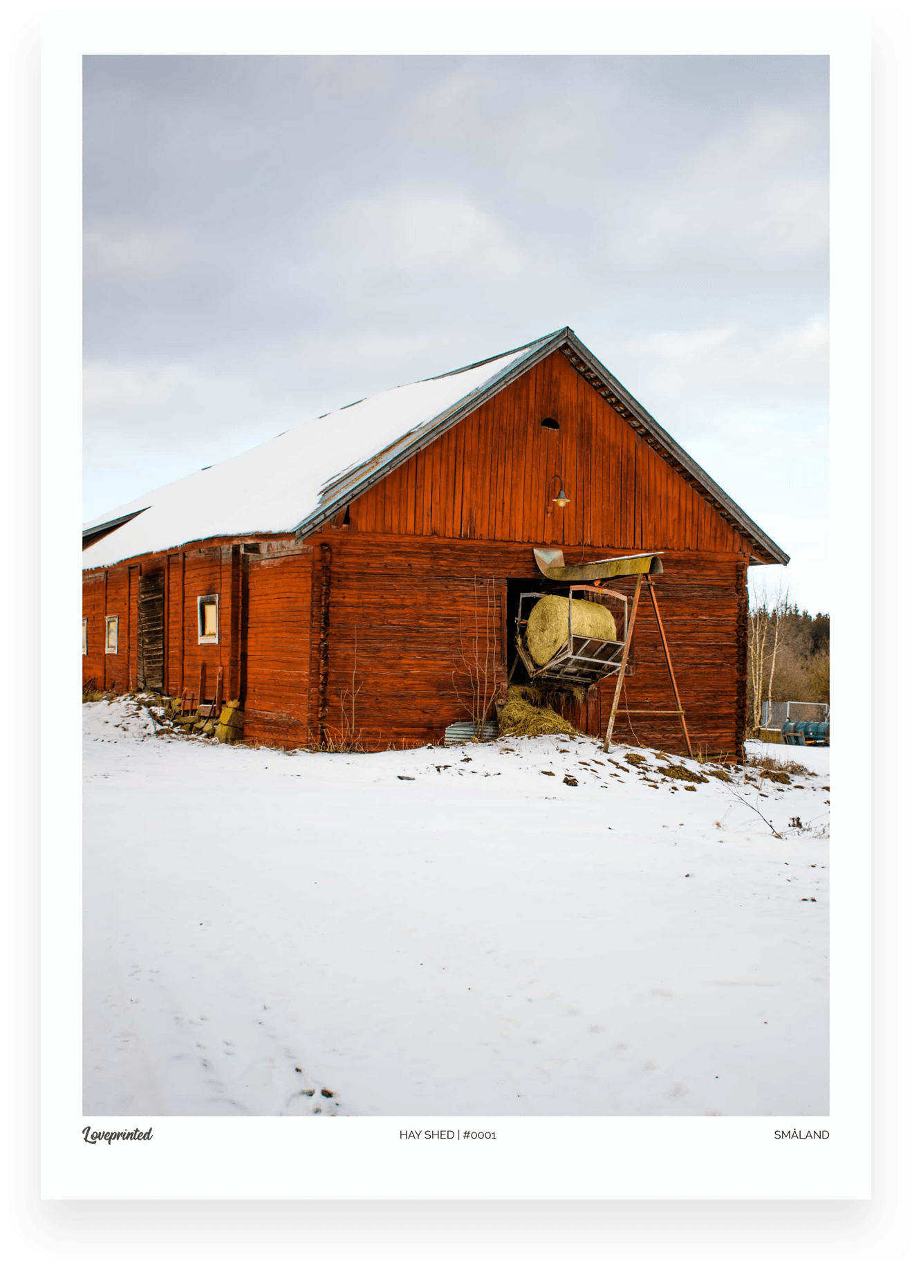 Hay shed | An Image of a Swedish red barn with haystacks made by Loveprinted