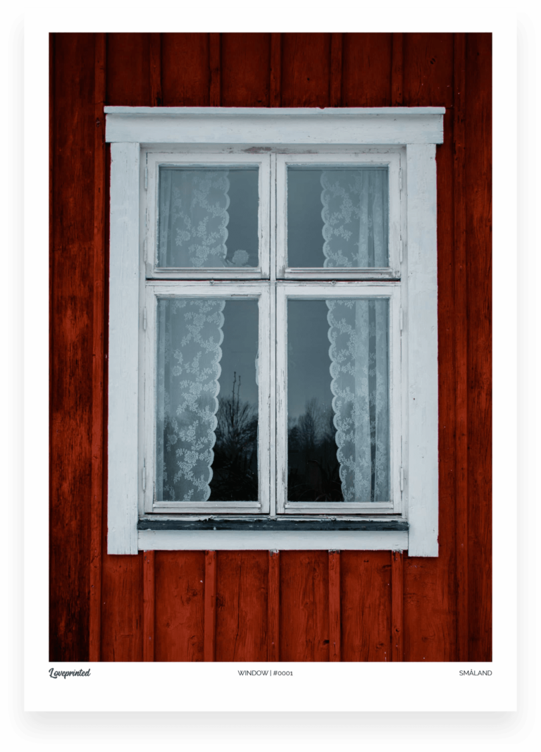 Window | A closeup Image of a white window of a Swedish red house made by Loveprinted