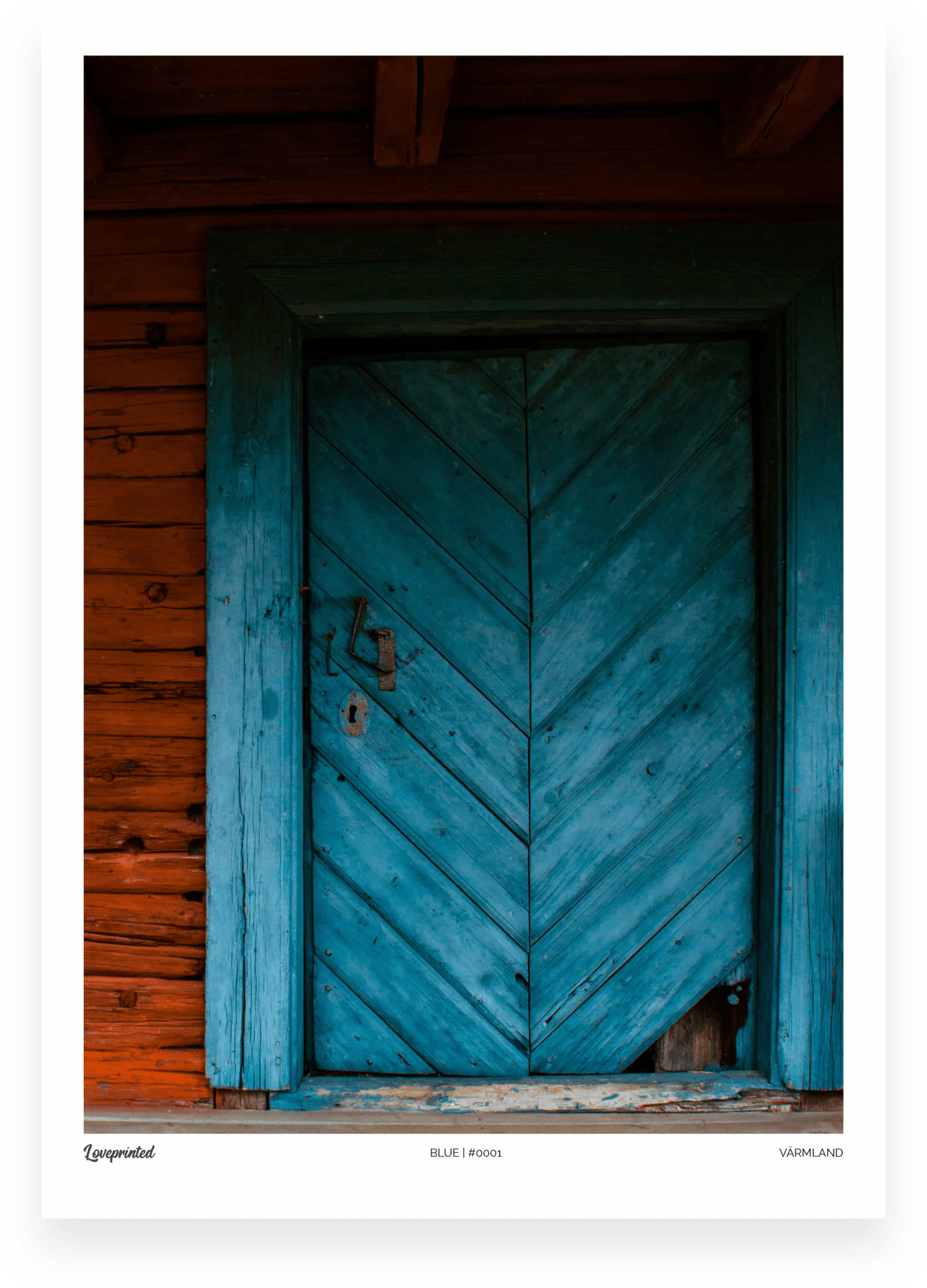 Blue | An Image of an old blue Swedish door made by Loveprinted