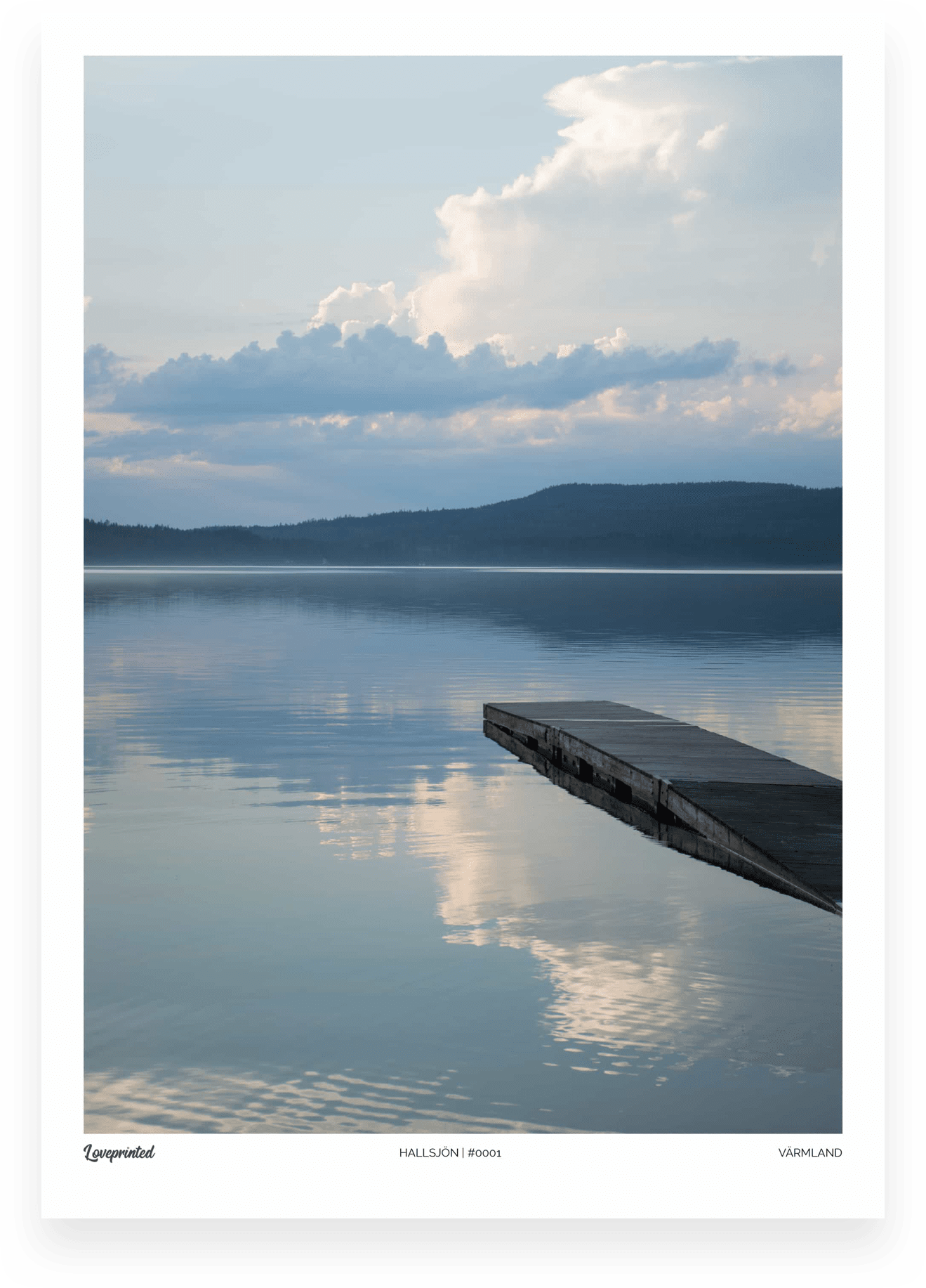 Hallsjon | An Image of the Swedish lake Hallsjon in Värmland with a boardwalk and clouds in the distance made by Loveprinted