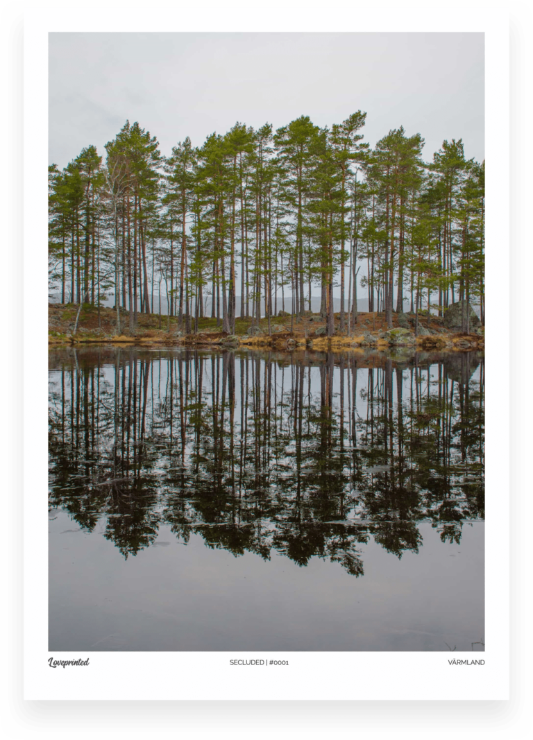 Secluded | An Image of trees on an island in a lake reflected in the water in Sweden made by Loveprinted